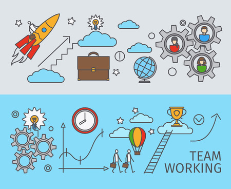 Trabajando juntos en el concepto de negocio. El trabajo en equipo. El logro de la meta. Ilustración del vector.