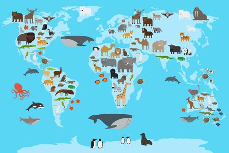 動物の世界地図。惑星ガイドのさまざまな部分に住んでいる動物。ベクトルの図。