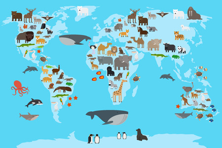 geography background: Animals world map. Animals living in different parts of the planet guide. Vector illustration.