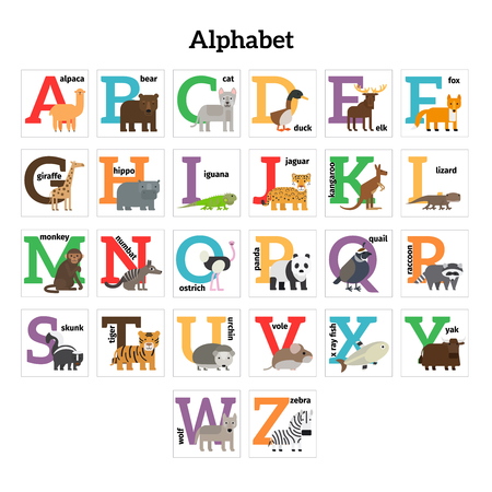 zoo: English animals zoo alphabet. Preschool kids education. Vector illustration.
