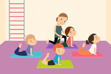 Yoga Kids con instructor. Deporte lección para los niños ilustración vectorial.