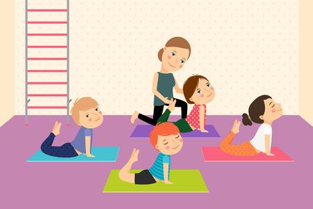 escuela caricatura: Yoga Kids con instructor. Deporte lección para los niños ilustración vectorial.
