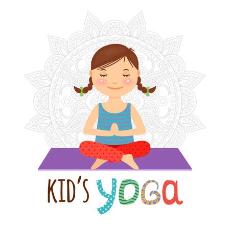 Kid logo yoga. Ragazza che si siede nella posa del loto. Illustrazione vettoriale.