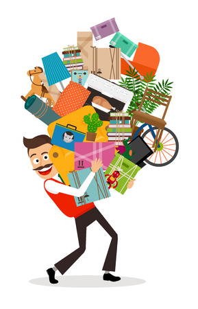 Man moving illustration. Happy man walking with all he has in hands. Vector illustration. Vettoriali