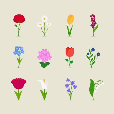jardines con flores: establecen estilizadas flores iconos mod. Ilustraci�n del vector.