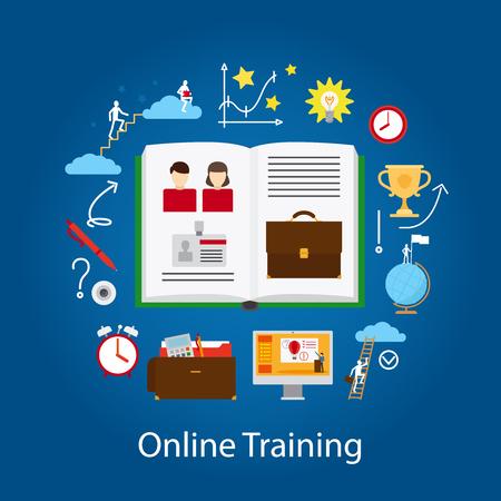 correspondence: La educación en línea y el concepto de seminario. La tecnología mejora Knowlege. Ilustración del vector.