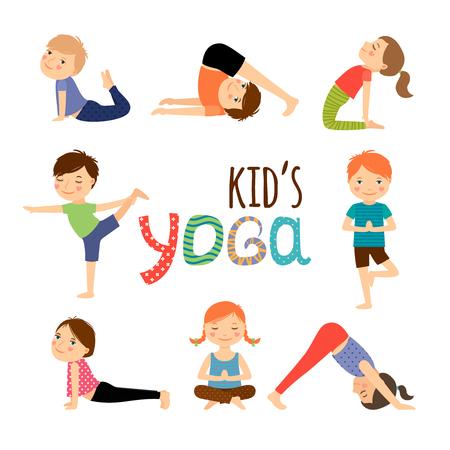 生活方式: 瑜伽的孩子設置。體操對兒童和健康的生活方式。矢量插圖。
