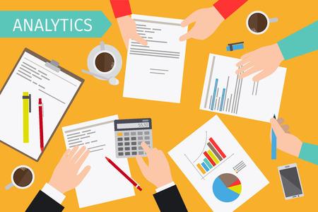 Business analytics en financiële audit. Brainstorm en berekeningen. Vector illustratie. Stock Illustratie