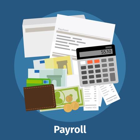 foglio di fattura, paysheet o l'icona del libro paga. Calcolo e conto economico. Illustrazione vettoriale.
