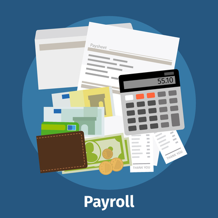 paid: Invoice sheet, paysheet or payroll icon. Calculating and budget account. Vector illustration.