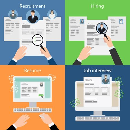 recruiting: Hiring and recruiting, resume and interview. Job search and carrer. Vector illustration.