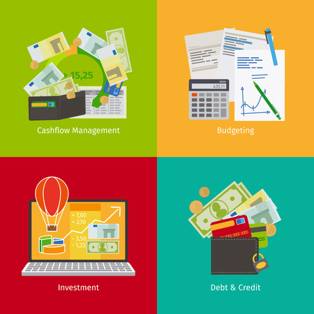 Beleggen en Personal Finance, Credit en budgettering. Cashflow management en financiële planning. Vector illustratie.