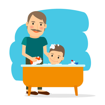 shower bath: Father and son taking bath. Family and childcare. Vector illustration.