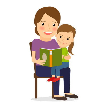 grown with love: Mother and child reading book. Family time and childcare.