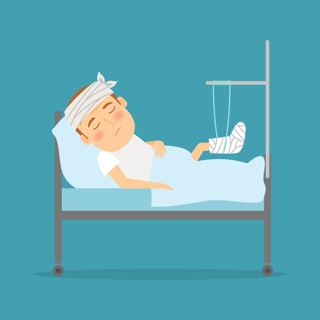 hospitalization: Man with broken leg cartoon illustration. Hospital care. Accident consequences. Vector illustration.