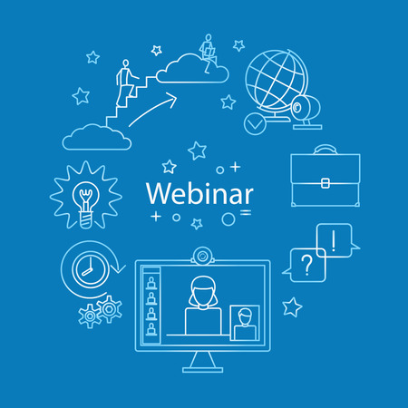 Webinar line icon vector. Online business and education. Vector illustration.