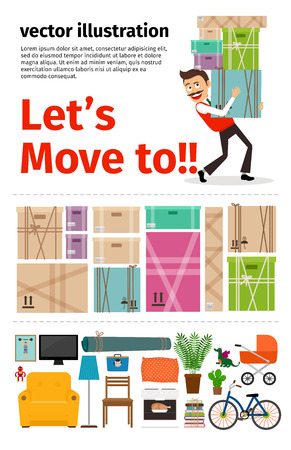move: Moving into new apartment infographics. Man carrying cardboard boxes. Vector illustration.