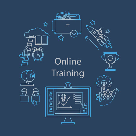 web courses: Webcast,  E-learning and Online Event Outline Icon. Distant education. Vector illustration. Illustration