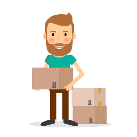 Moving house. Man lifting cardboard boxes vector illustration.