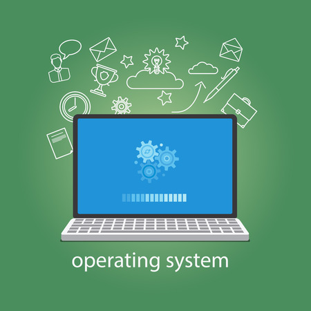 Operating system softwear. OS concept with laptop and gears. Vector illustration.