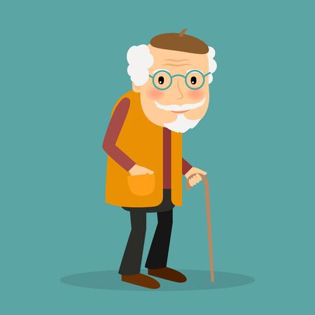Viejo hombre con gafas y walkings bastón. Carácter vectorial sobre fondo azul.