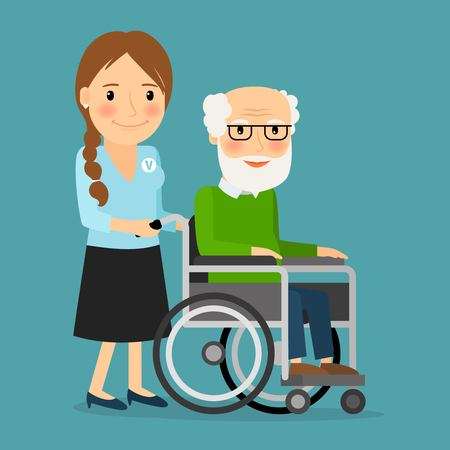 older woman smiling: Volunteer pushing wheelchair with disabled old man. Helping elderly and sick people. Vector illustration. Illustration