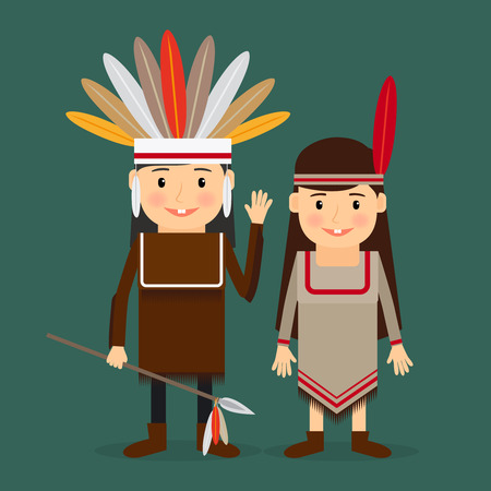 indian chief: American indians children in national tribal costumes. Vector illustration.