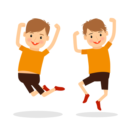 young teen: Happy boys jumping and smiling. Vector illustration.
