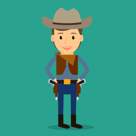 cowboy gun: Country western. Boy dressed as cowboy. Party or birthday costume. Vector illustration. Illustration