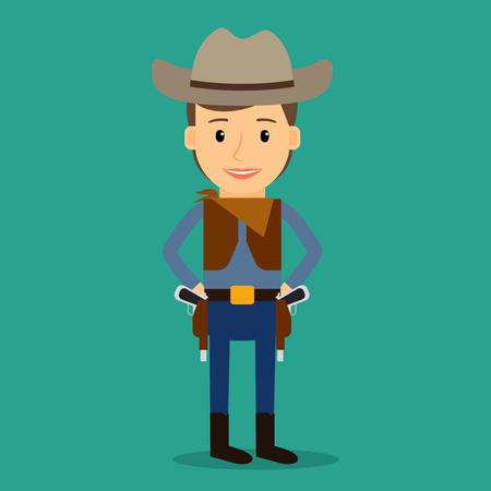 cuero vaca: Pa�s occidental. Muchacho vestido como vaquero. Parte o traje de cumplea�os. Ilustraci�n del vector.