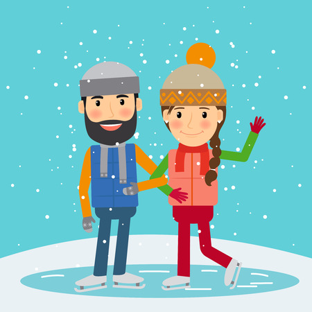 happy family smiling: Happy winter time. Young couple skates. Winter holidays activity. Vector illustration. Illustration