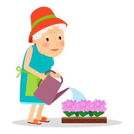 plant stand: Old woman watering flowers. Happy gardening vector illustration. Illustration