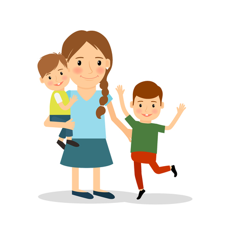 two children: Mother with children. Young woman and two boys. happy family lifestyle. Vector illustration.