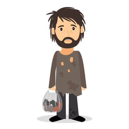 Dakloos. Shaggy man in vuile lompen en met een tas in zijn hand. Vector illustratie. Vector Illustratie