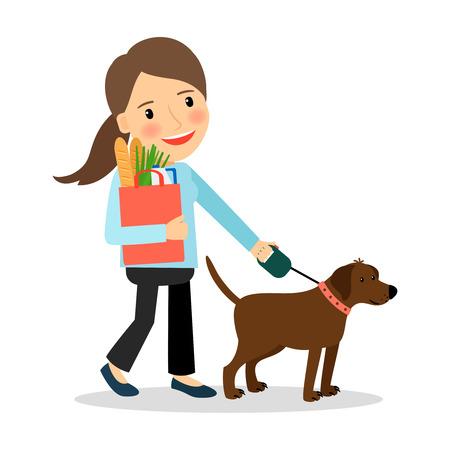 dog walking: Woman walking with dog and bag of food. Vector illustration.