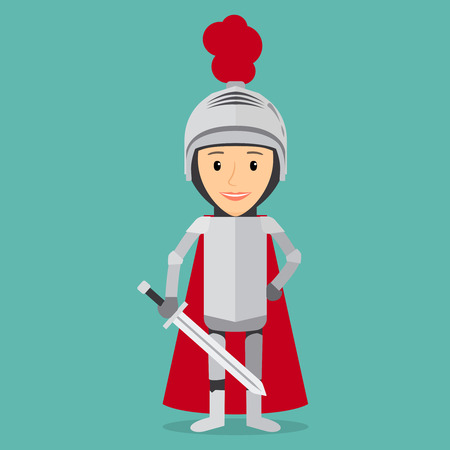 heroism: Boy knight. Kostume for party with bodyarmer, sword and helmet. Vector illustration.