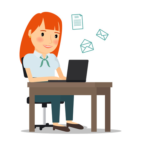 person writing: Woman with laptop computer sending email or working online. Vector illustration.