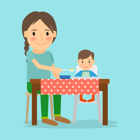 hungry kid: Mother feeding her baby boy. Happy family lifestyle and childcare. Vector illustration.