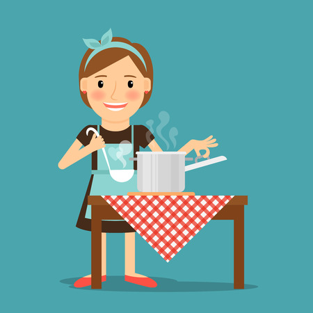 Mother cooking. Woman cooking in kitchen. Housewife family lifestyle. Vector illustration.