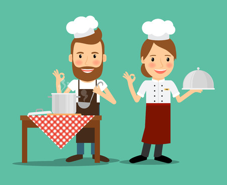 Culinary chefs. Cook class lesson and food preparation. Vector illustration. Vettoriali