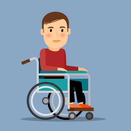 personas enfermas: Hombre lisiado que se sienta en la silla de ruedas. Per�odo de recuperaci�n. Ilustraci�n del vector.
