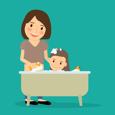 woman washing hair: Mother bathing baby girl. Happy family time together. Vector illustration. Illustration