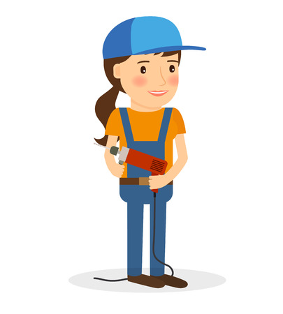 screwing: Young woman in coverall with screwdriver. Builder ar workman career. Vector illustration.
