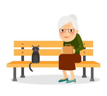 노인 여성과 고양이 공원 벤치에 앉아입니다. 휴식과 야외 조용한 시간. 벡터 일러스트 레이 션. 일러스트