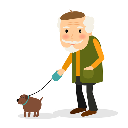 teamwork cartoon: Old man walking with dog. Smiling senior gentleman with his pet outdoors. Vector illustration.