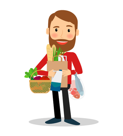 diet: Young man with food bags and basket, containing vegetables, fish, bread. Vector illustration. Illustration
