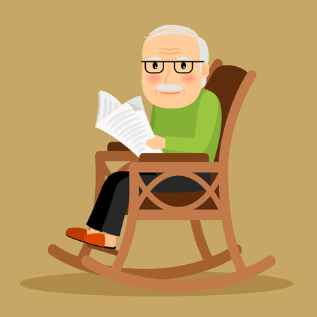 Old man sitting in rocking chair and reading newspaper. Vector illustration. Stock Illustratie