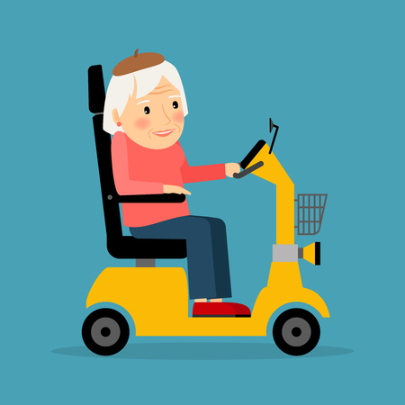 motor scooter: Senior woman on wheel electric scooter. Vector illustration. Illustration