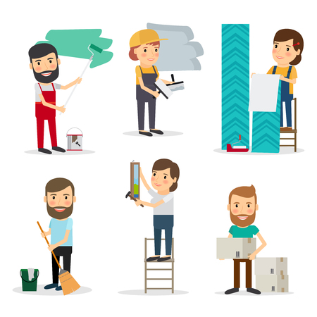 People with equipment repair house. Men and women brooming, painting, moving cardboard boxes, paperhanging. Vector illustration. Illustration