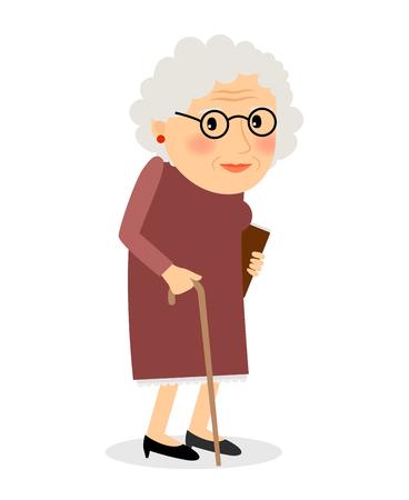 Anziana con la canna. Signora maggiore con gli occhiali a piedi. Illustrazione vettoriale. Vettoriali